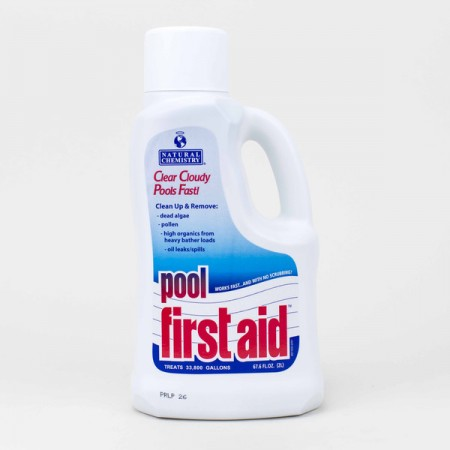 Natural Chemistry pool first aid liter jug when searching for good pool installation company Dyer.