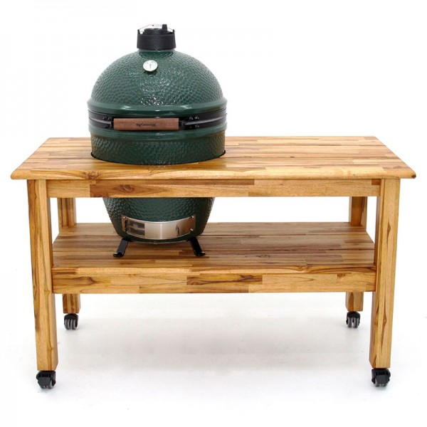 Hardwood teak tables for EGG grill, shop at local Chesterton pool store for your backyard entertaining.