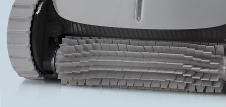 Close up of rubber brush on pool vacuum when looking to buy hot tub that is display in showroom of Chesterton spa store.