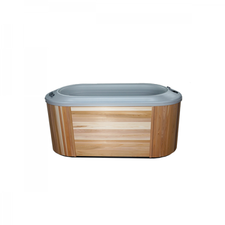 An affordable hot tub option that is on display in showroom of St. John pool store.