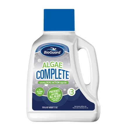 Algae Complete bottle, when looking for affordable swimming pool installation Lowell.